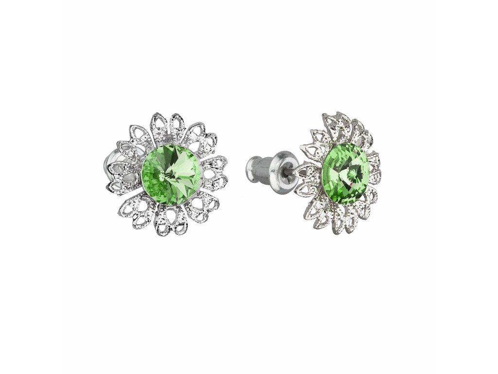 Náušnice bižuterie se Swarovski krystaly zelená kytička 51042.3