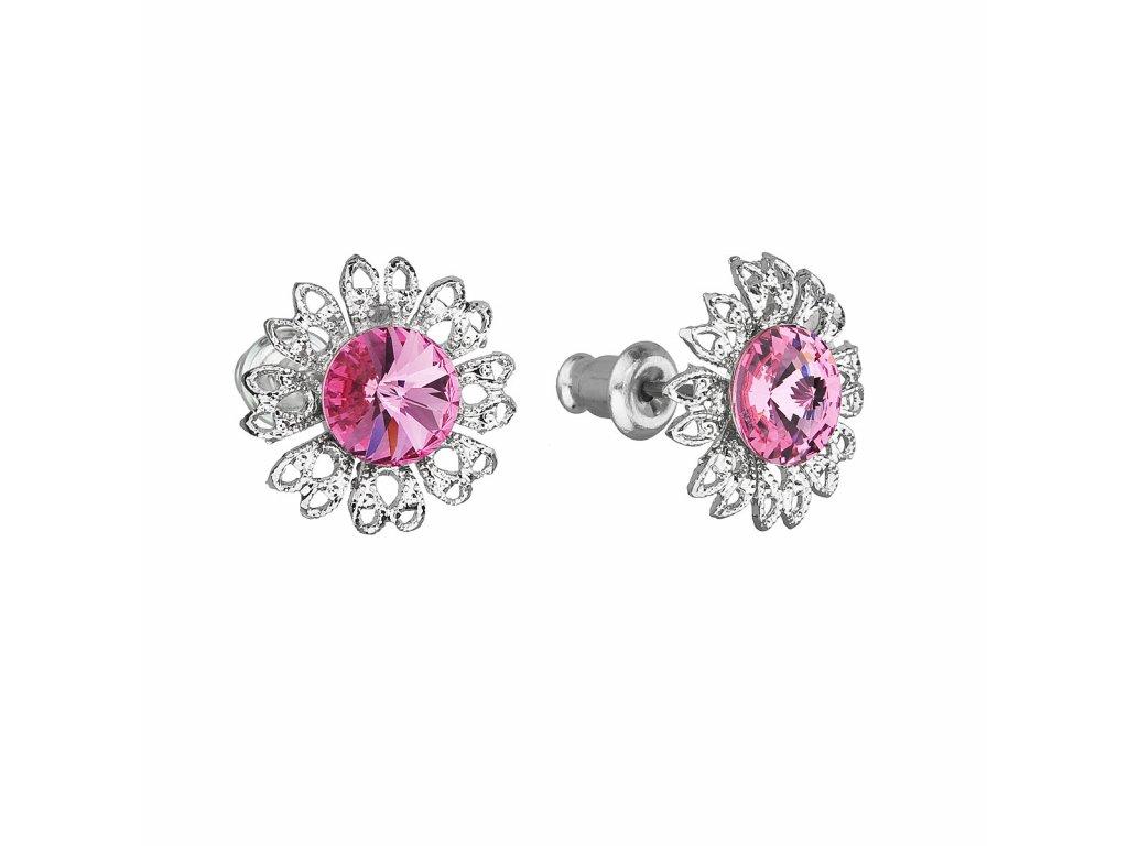 Náušnice bižuterie se Swarovski krystaly růžová kytička 51042.3 rose