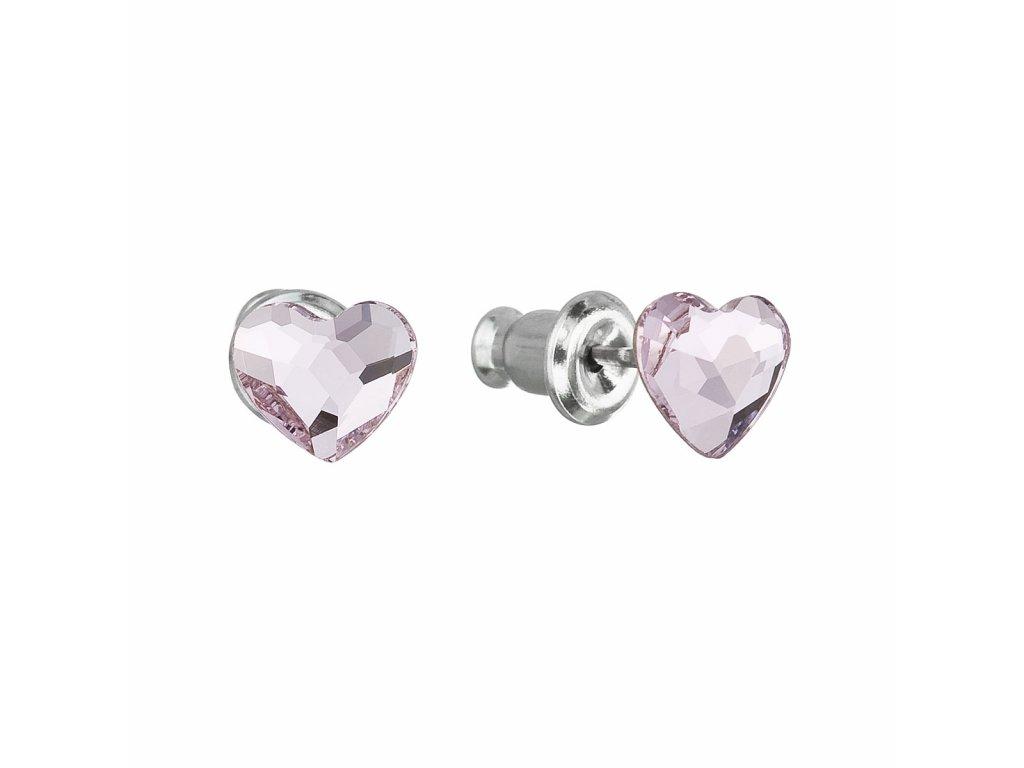 Náušnice bižuterie se Swarovski krystaly růžová srdce 51050.3 rose