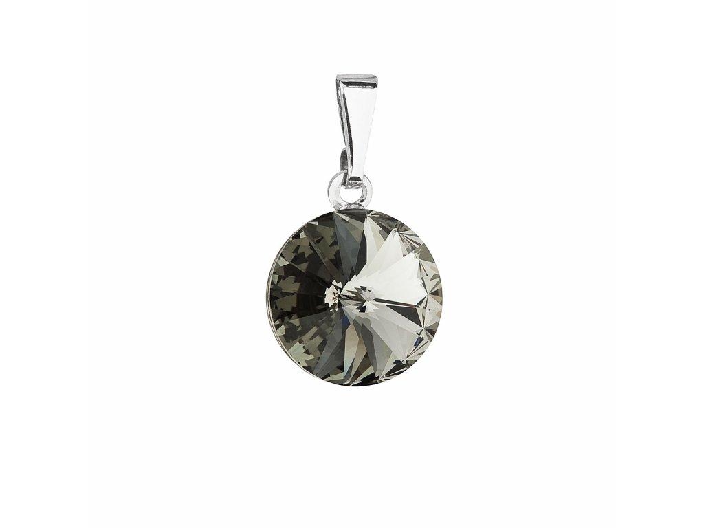 Přívěsek bižuterie se Swarovski krystaly šedý kulatý 54001.3