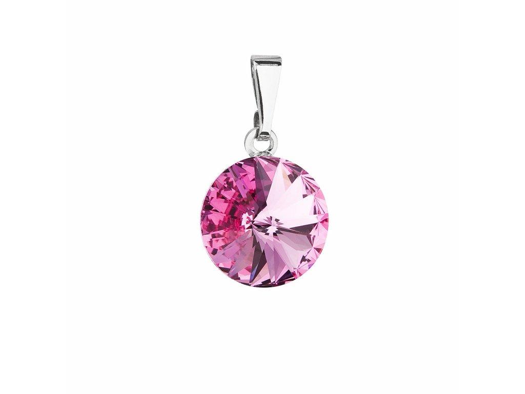 Přívěsek bižuterie se Swarovski krystaly růžový kulatý 54001.3 rose