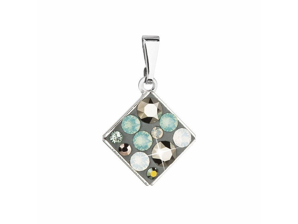 Přívěsek bižuterie se Swarovski krystaly zelená modrá hnědá kosočtverec 54020.4