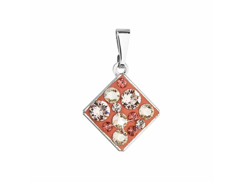 Přívěsek bižuterie se Swarovski krystaly oranžový kosočtverec 54020.4