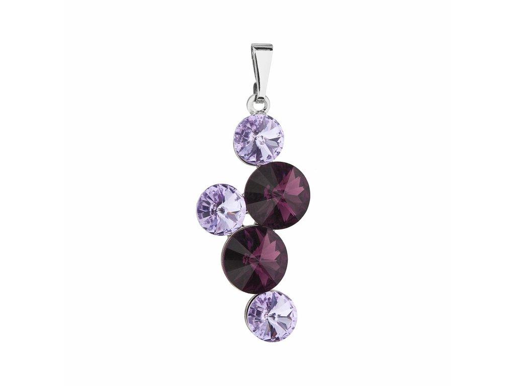 Přívěsek bižuterie se Swarovski krystaly fialový kulatý 54029.3