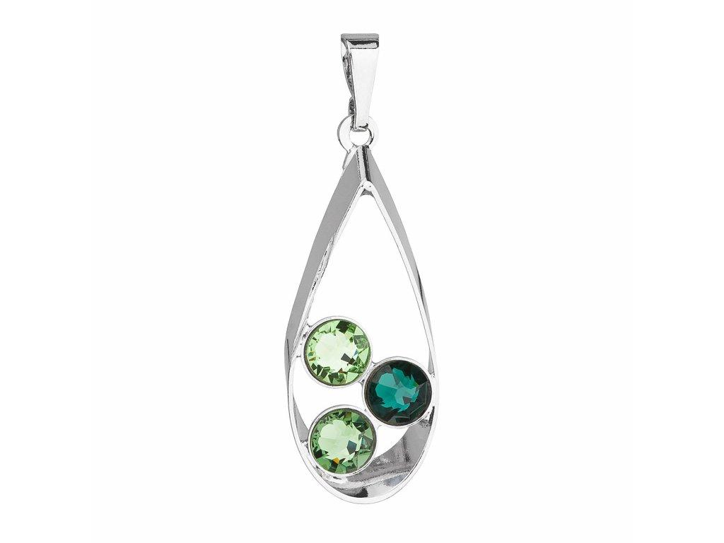 Přívěsek bižuterie se Swarovski krystaly zelená slza 54031.3