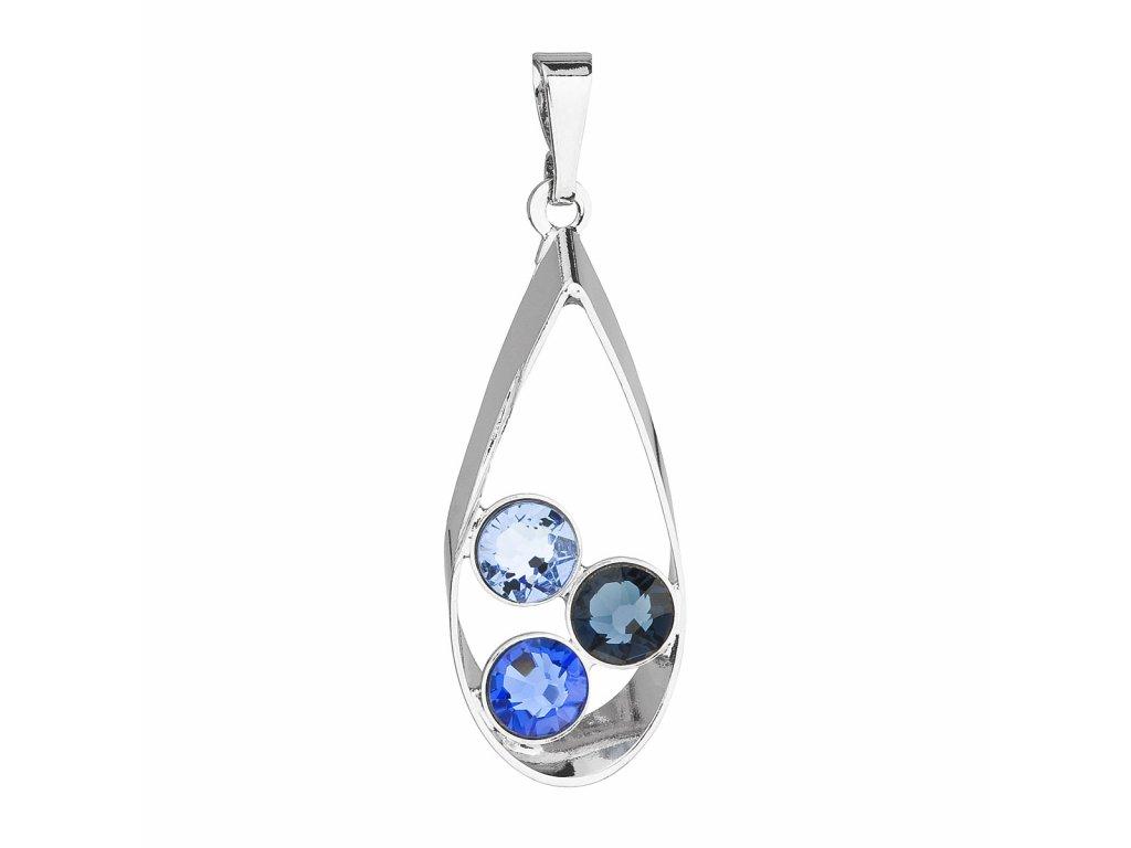 Přívěsek bižuterie se Swarovski krystaly modrá slza 54031.3