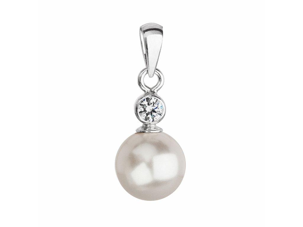 Stříbrný přívěsek s krystalem Swarovski a bílou kulatou perlou 34201.1
