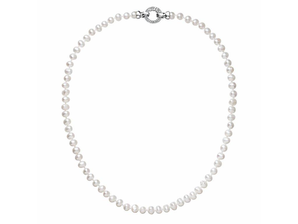 Perlový náhrdelník z pravých říčních perel bílý 22001.1