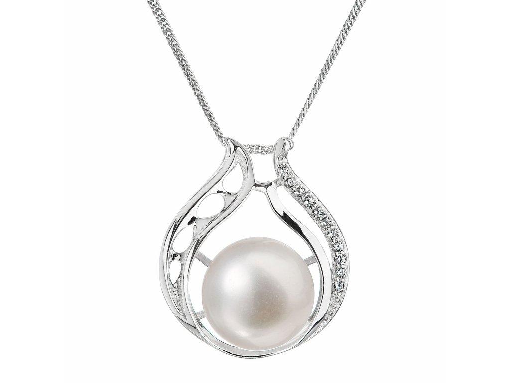 Perlový náhrdelník s řetízkem z pravých říčních perel bílý 22011.1