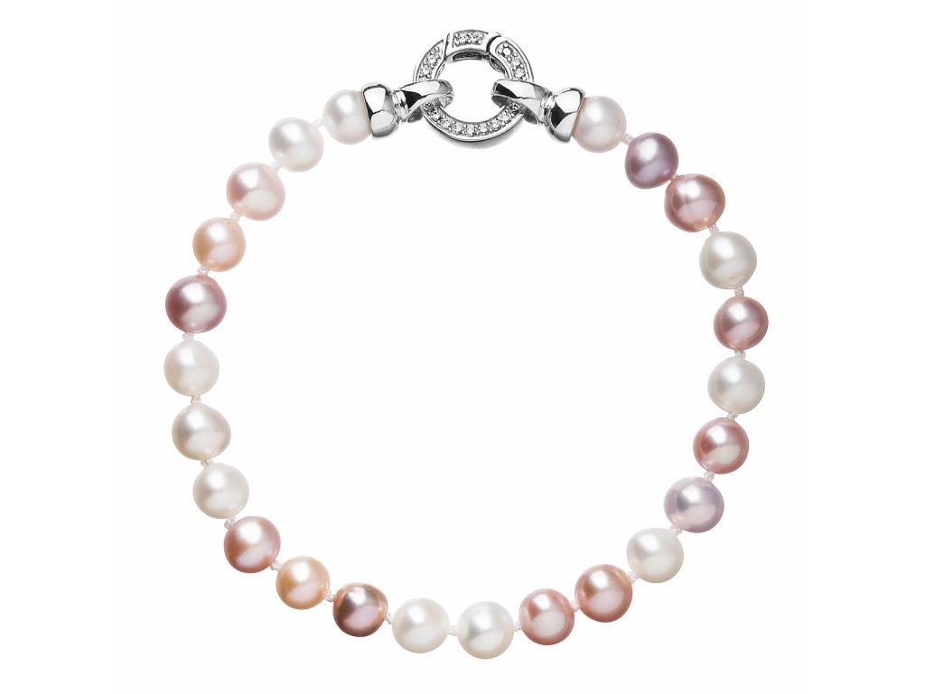 Perlový náramek z pravých říčních perel mix barev 23004.3
