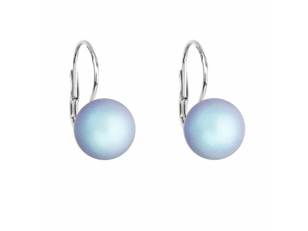 Stříbrné náušnice visací se světlemodrou matnou Swarovski perlou 31143.3