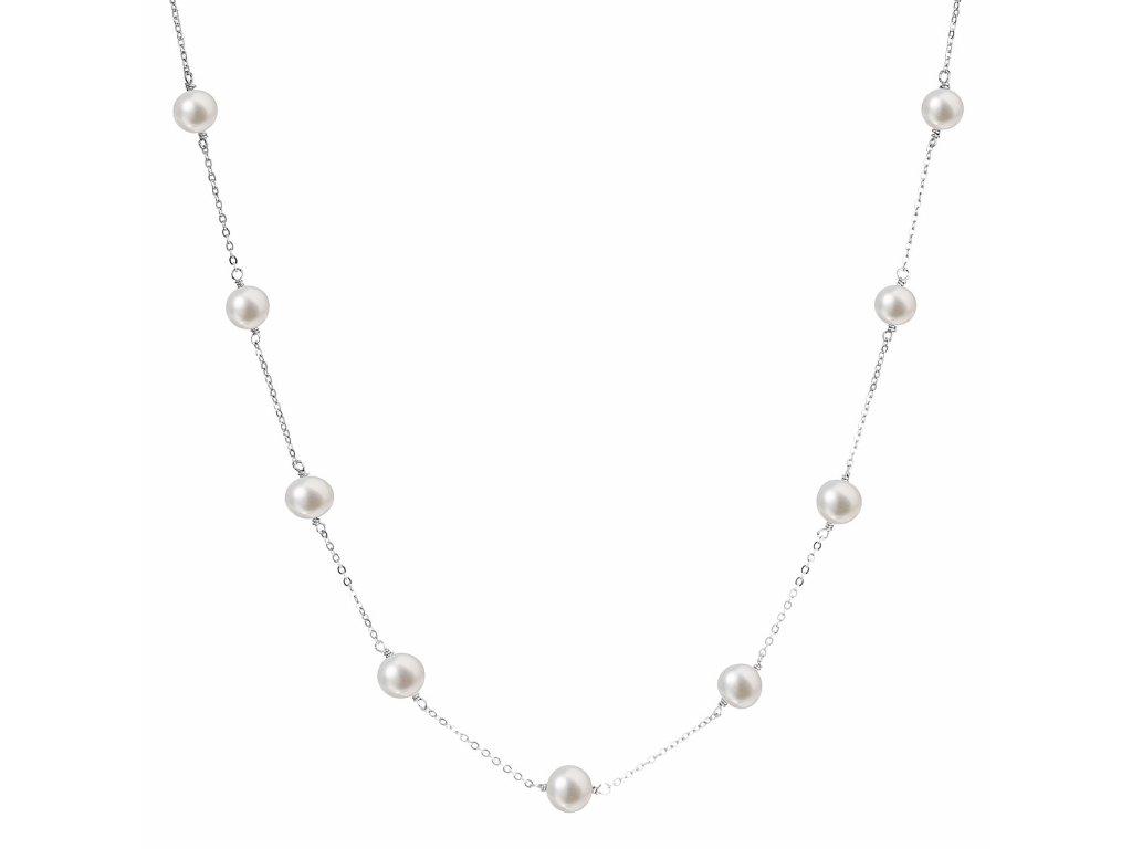 Perlový náhrdelník z pravých říčních perel bílý 22013.1