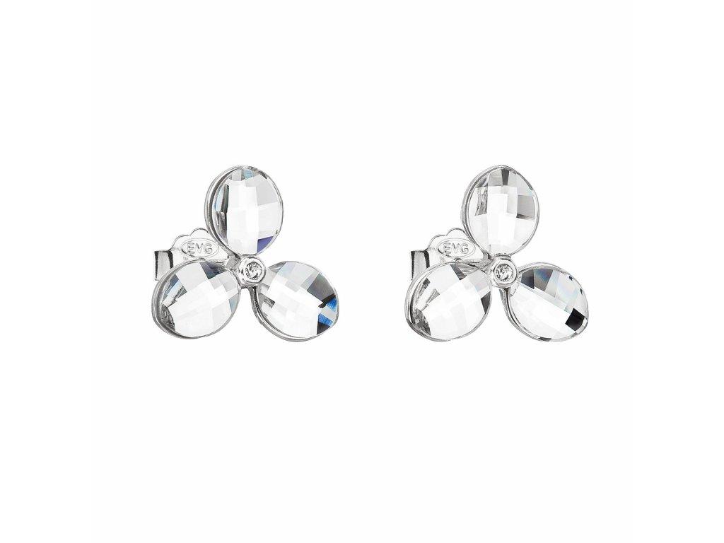 Stříbrné náušnice pecka s krystaly Swarovski bílá kytička 31249.1