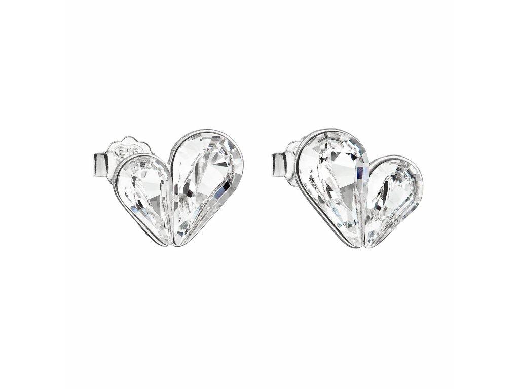 Stříbrné náušnice pecka s krystaly Swarovski bílé srdce 31252.1