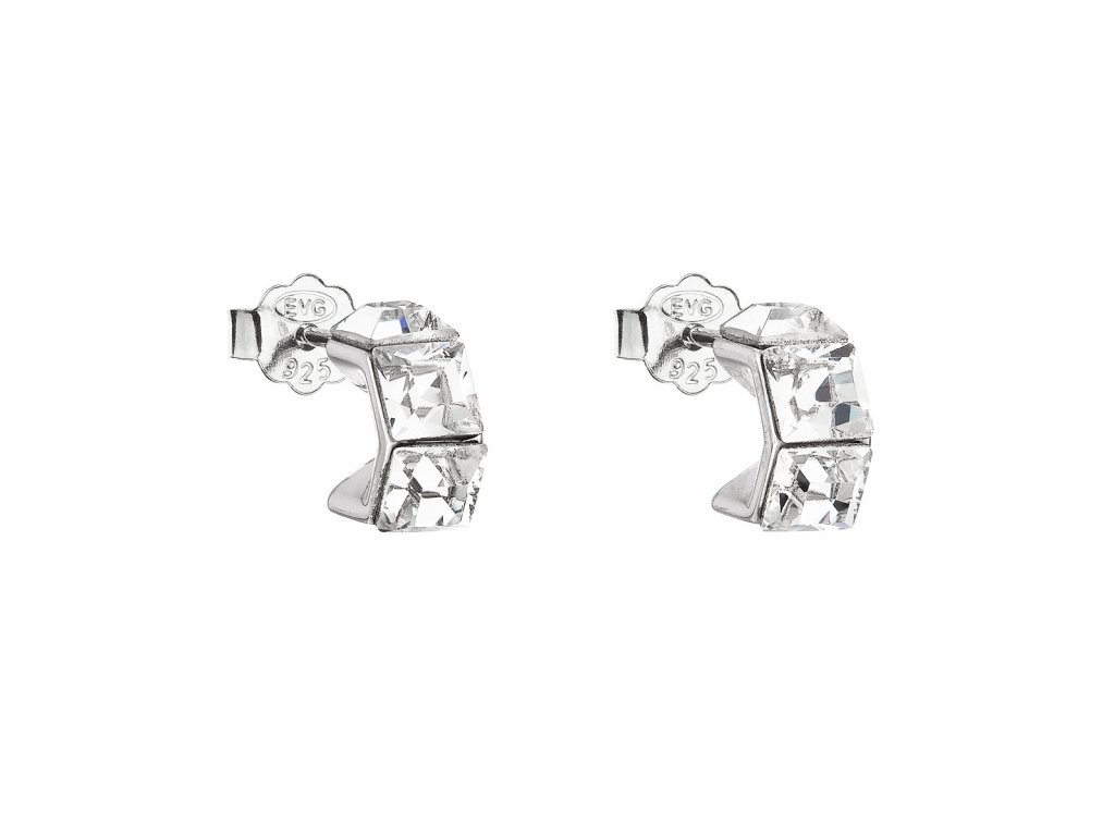 Stříbrné náušnice pecka s krystaly Swarovski bílá kostička 31253.1