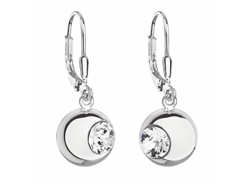 Stříbrné náušnice visací s krystaly Swarovski bílé kulaté 31260.1