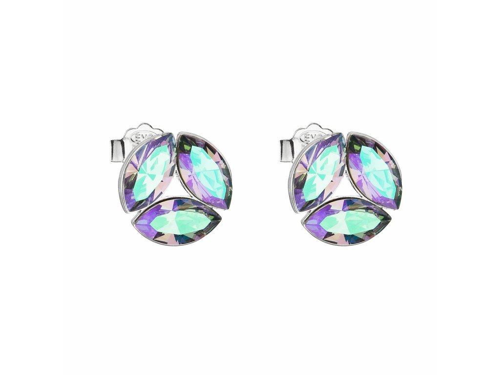 Stříbrné náušnice pecka s krystaly Swarovski zelené kulaté 31267.5