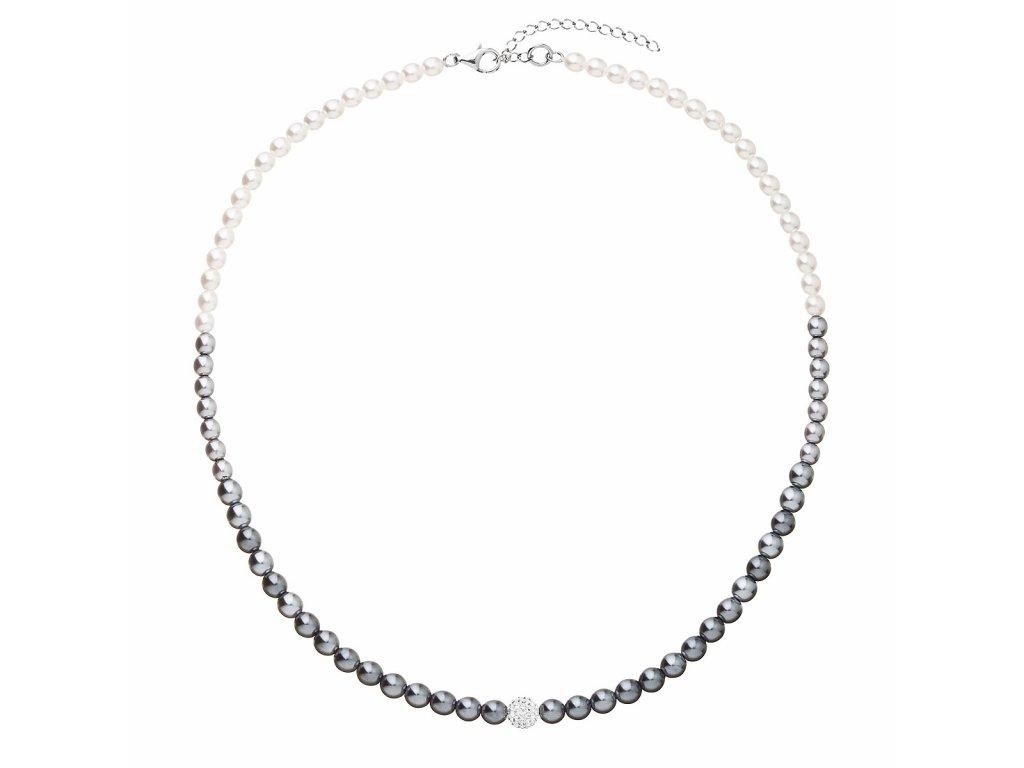Perlový náhrdelník bílo-šedý s krystaly Swarovski 32065.3