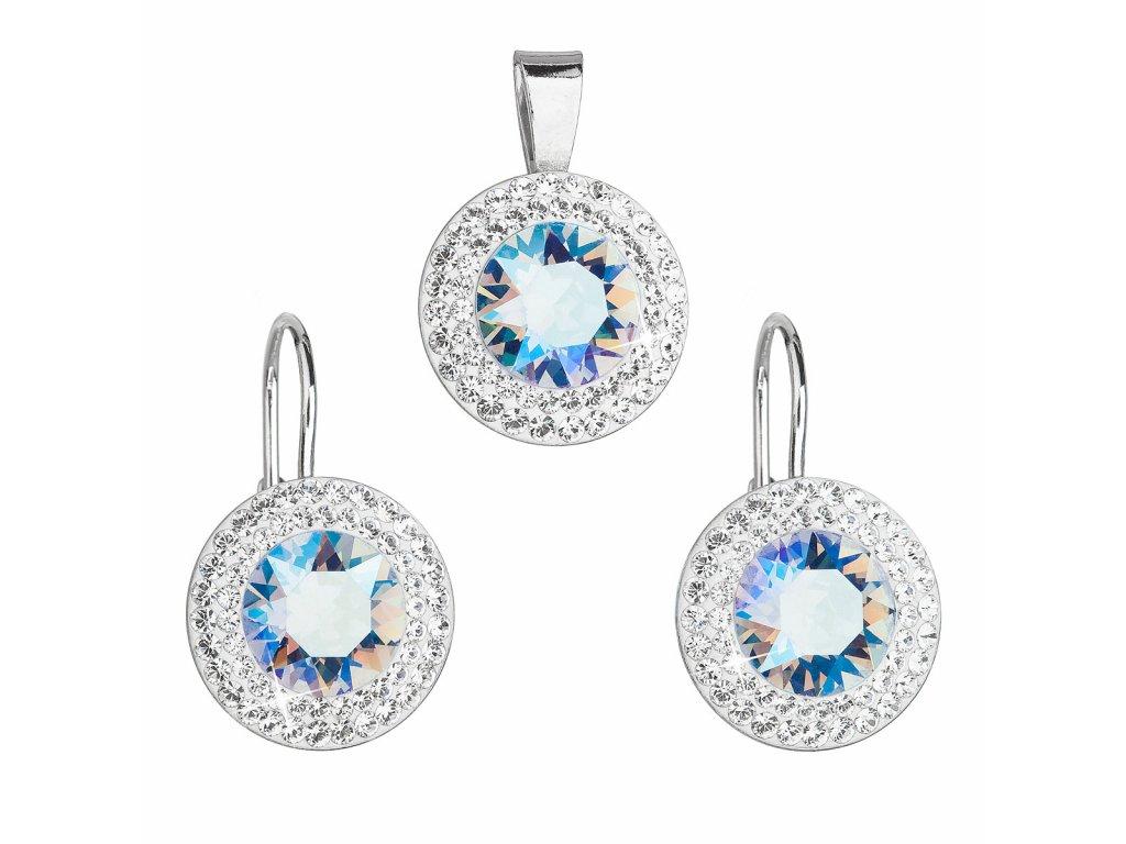 Sada šperků s krystaly Swarovski náušnice a přívěsek modré kulaté 39107.3 light sapphire shimmer