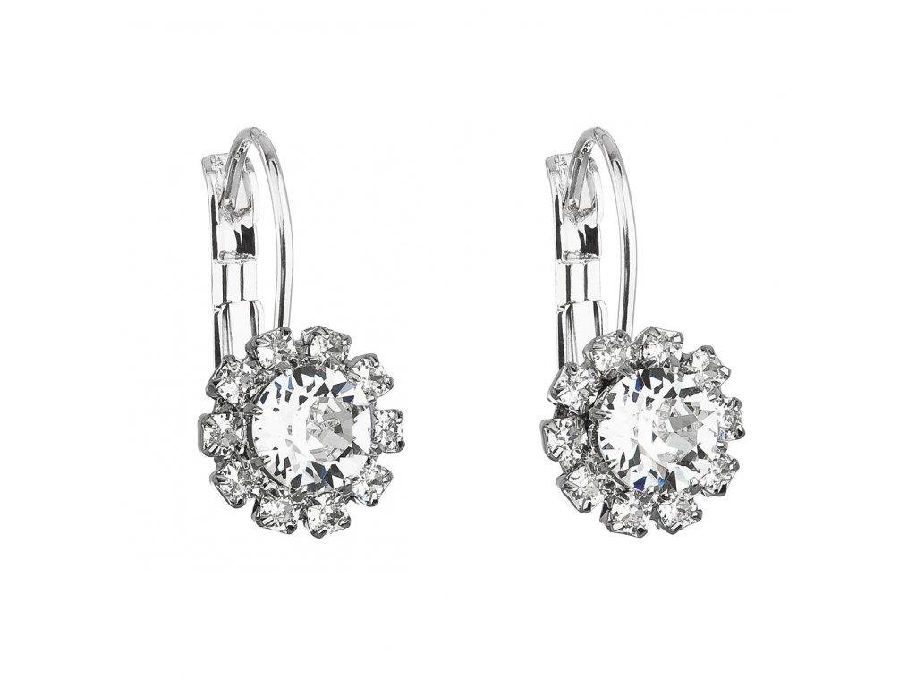 Náušnice bižuterie se Swarovski krystaly bílá kytička 51063.1