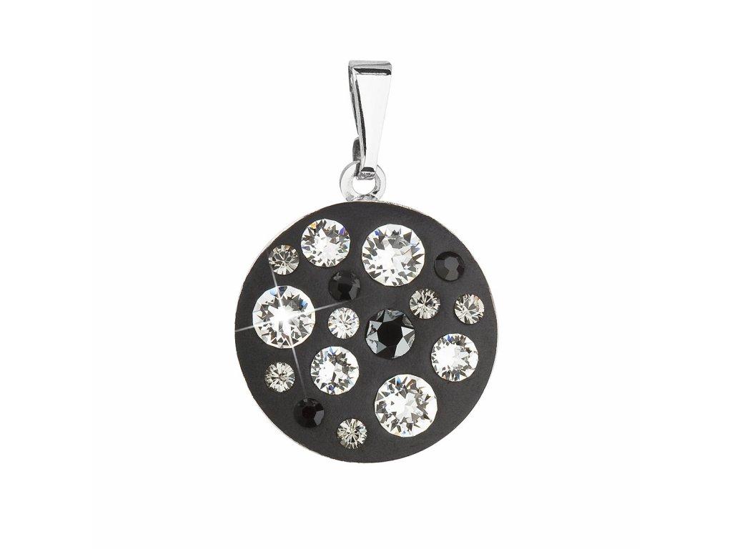 Přívěsek bižuterie se Swarovski krystaly černý kulatý 54022.3
