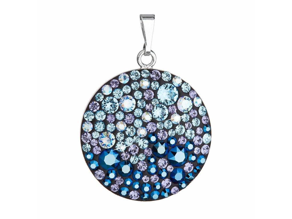 Stříbrný přívěsek s krystaly Swarovski modrý kulatý 34131.3 blue style