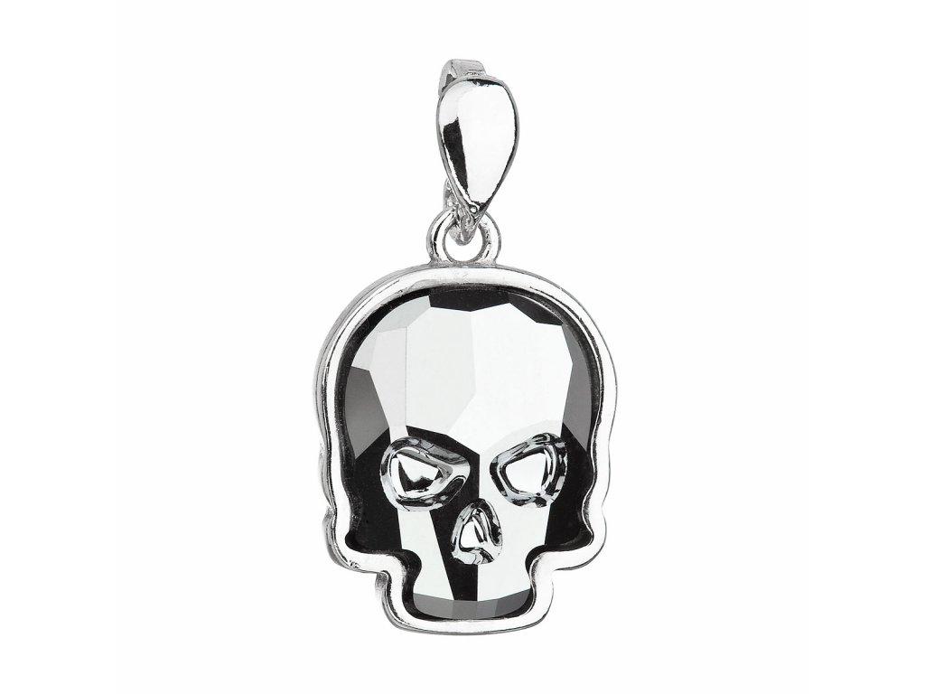 Stříbrný přívěsek s krystalem Swarovski stříbrná lebka 34222.5