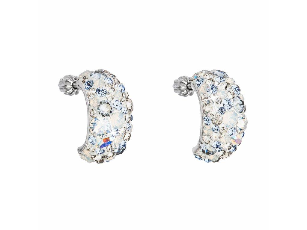 Stříbrné náušnice visací s krystaly Swarovski modrý půlkruh 31164.3 light sapphire
