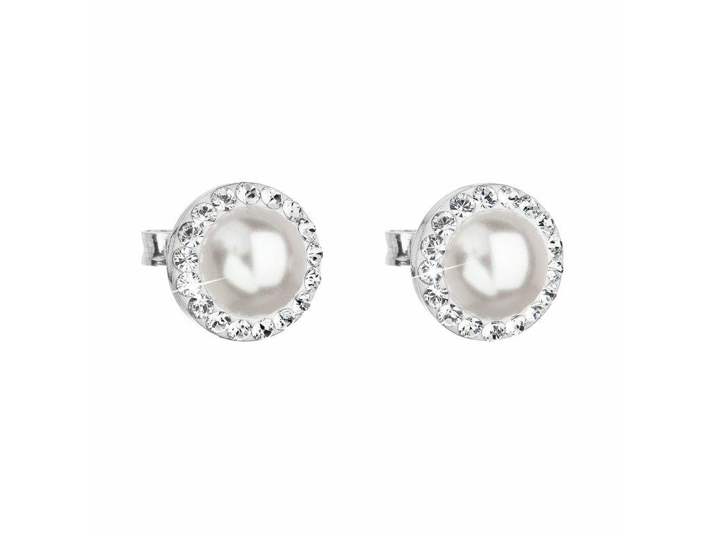 Stříbrné náušnice pecka s krystaly Swarovski a bílou perlou kulaté 31214.1