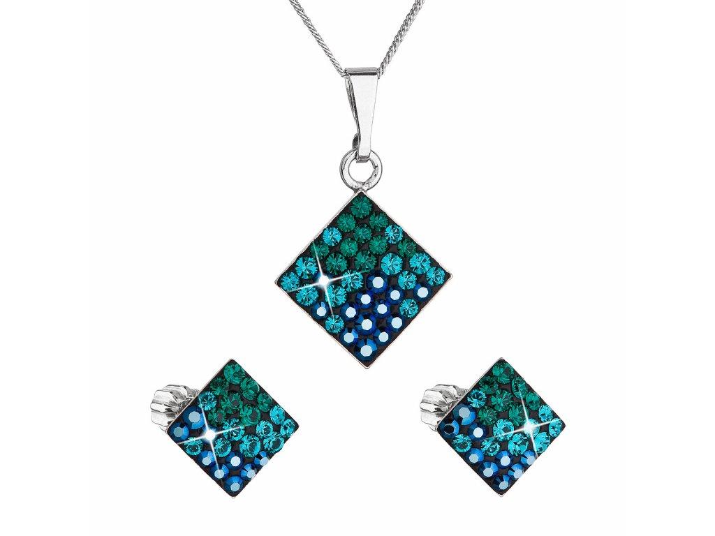 Sada šperků s krystaly Swarovski náušnice, řetízek a přívěsek zelený kosočtverec 39126.3 magic green