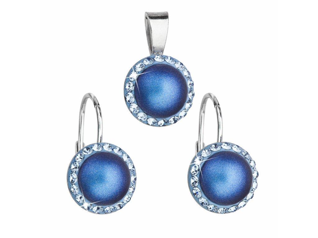 Sada šperků s krystaly Swarovski náušnice a přívěsek s tmavěmodrou matnou perlou kulaté 39091.3