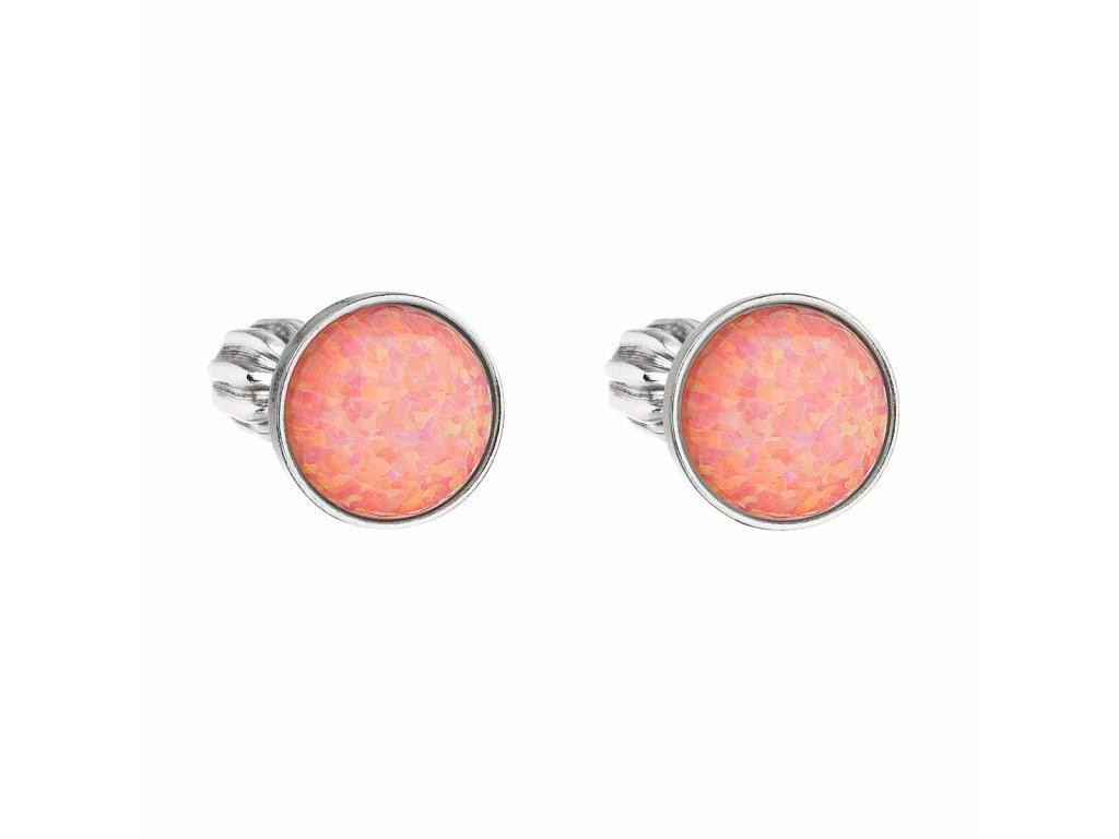 Stříbrné náušnice pecky se syntetickým opálem oranžové kulaté 11001.3
