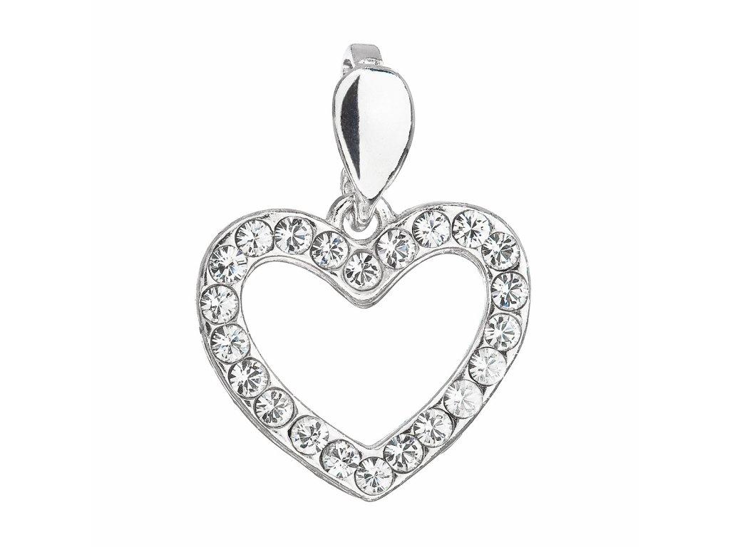 Stříbrný přívěsek s krystaly Swarovski bílé srdce 34219.1