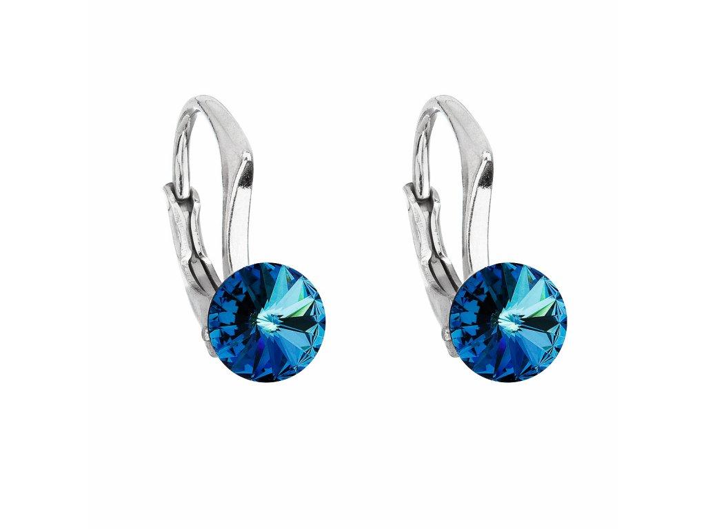Stříbrné náušnice visací s krystaly Swarovski modré kulaté 31230.5 bermuda blue