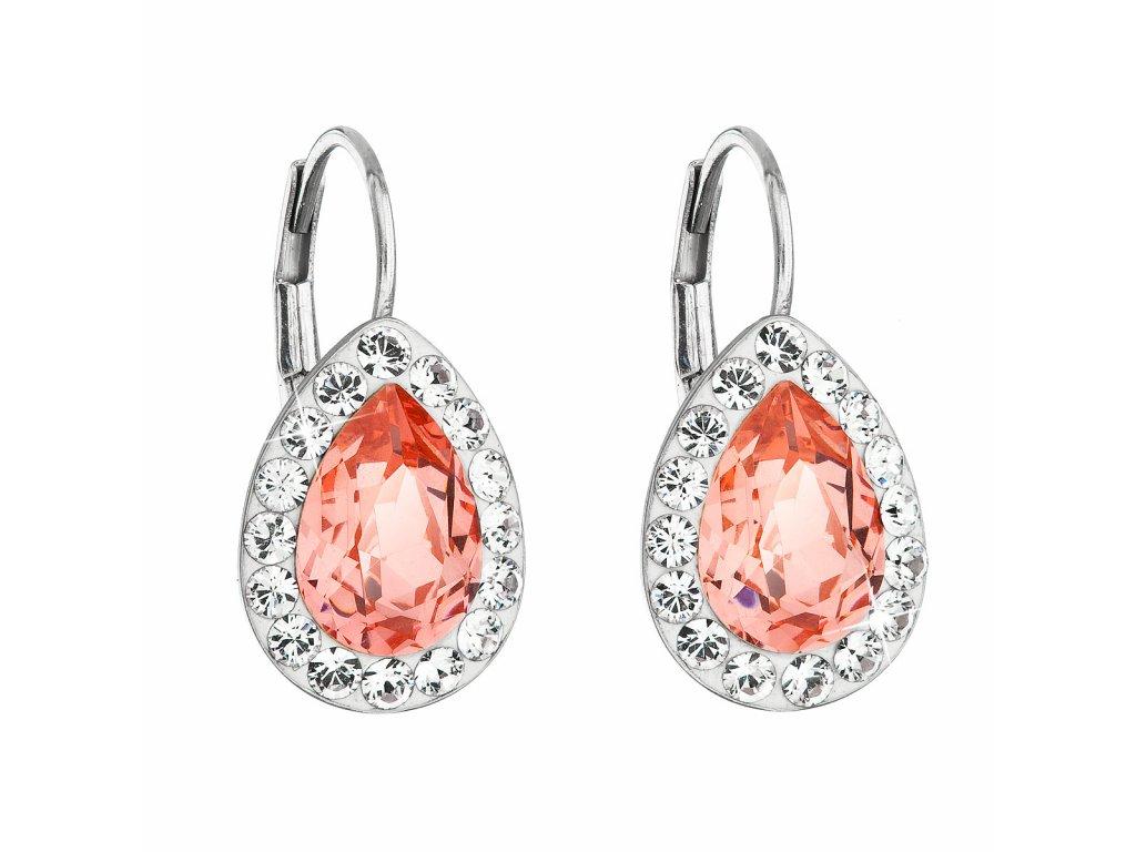 Stříbrné náušnice visací s krystaly Swarovski oranžová slza 31242.3