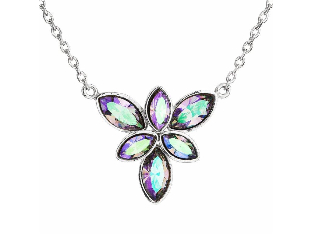 Stříbrný náhrdelník s krystaly Swarovski modrá kytička 32047.5
