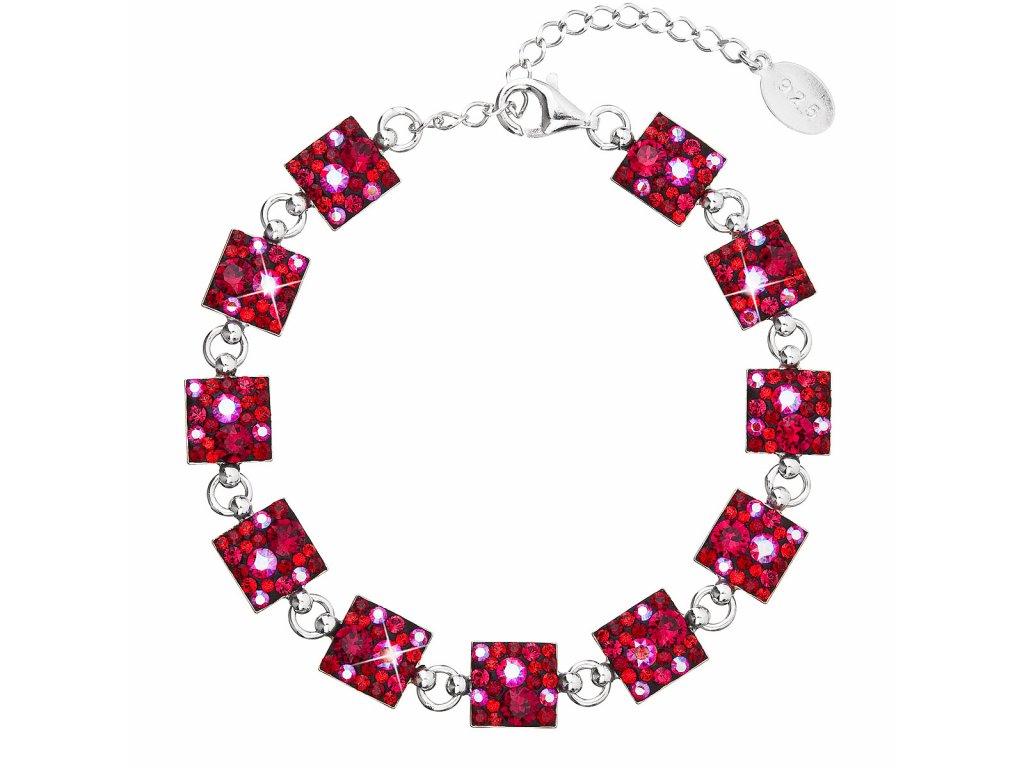 Stříbrný náramek se Swarovski krystaly červený 33047.3 cherry