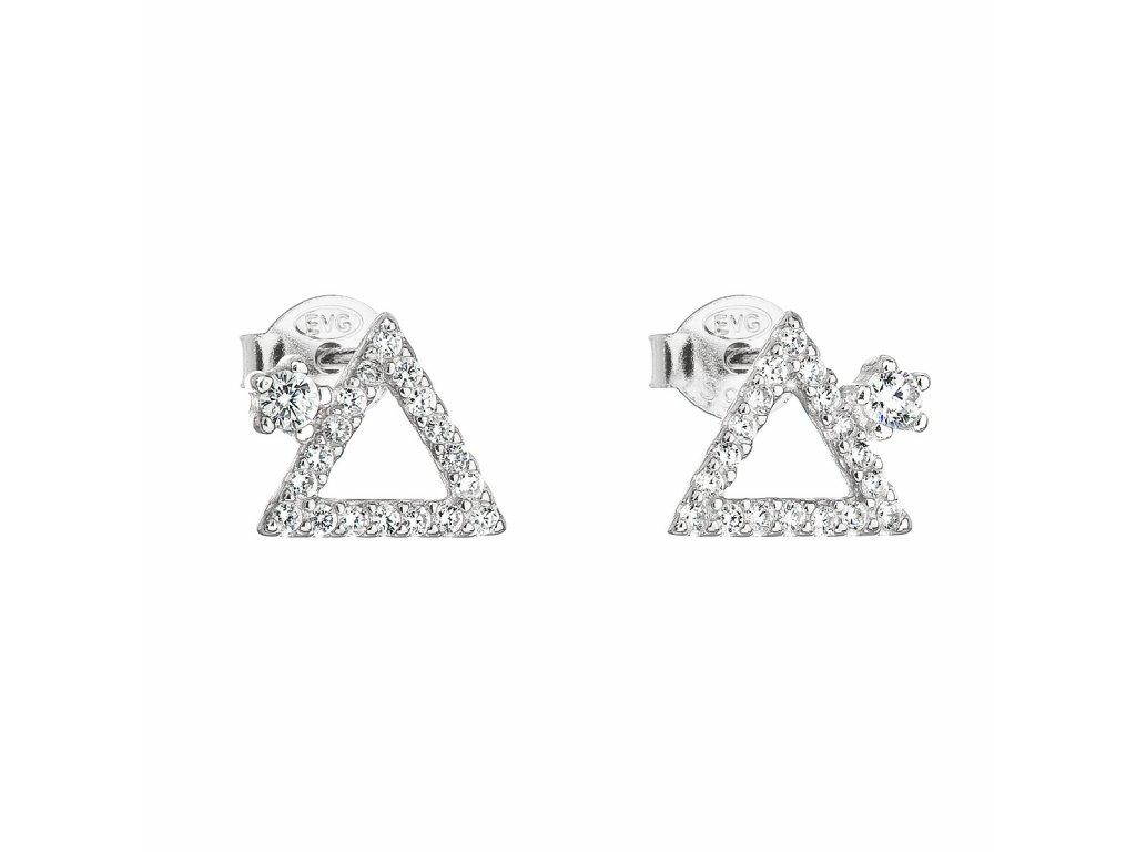 Stříbrné náušnice pecka se zirkonem bílý trojúhelník 11037.1