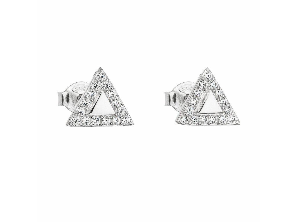 Stříbrné náušnice pecka se zirkonem bílý trojúhelník 11042.1