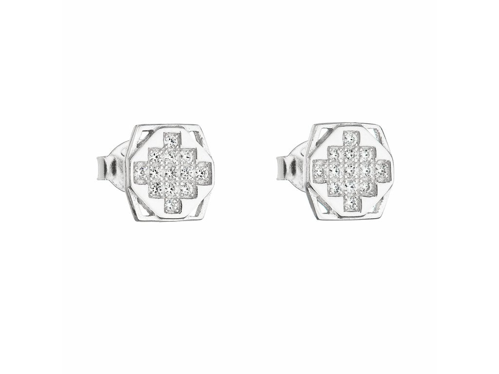 Stříbrné náušnice pecka se zirkonem bílý čtverec 11050.1