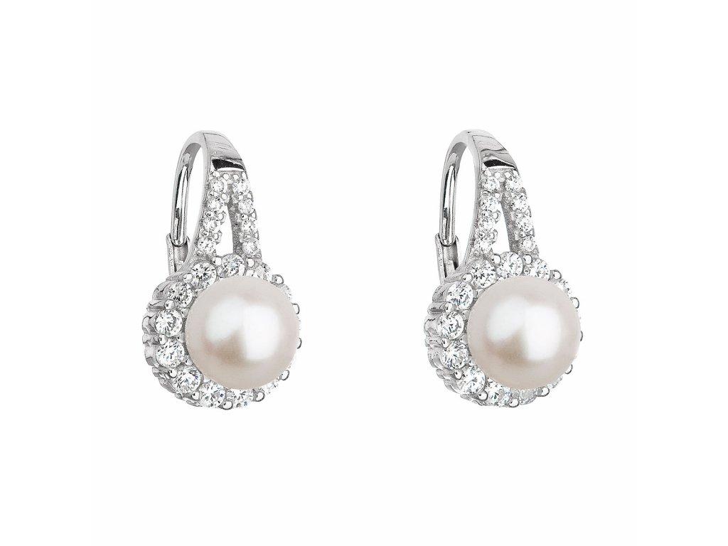 Stříbrné náušnice visací s bílou říční perlou 21047.1