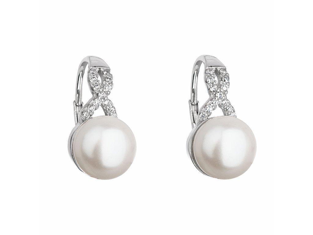 Stříbrné náušnice visací s bílou říční perlou 21048.1