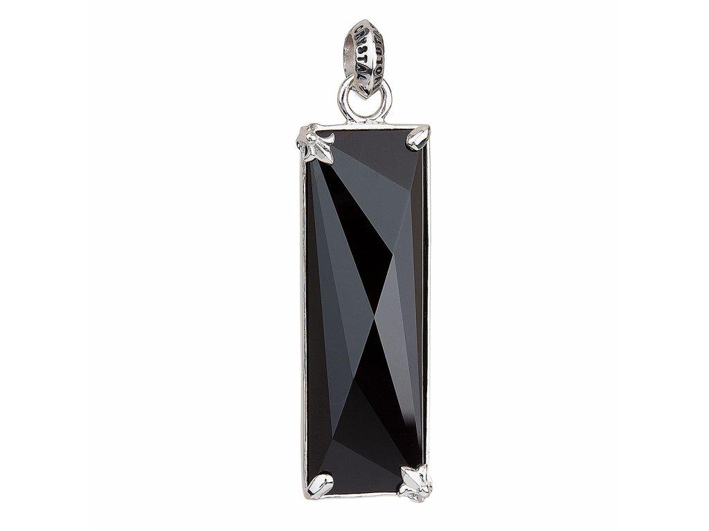 Stříbrný přívěsek s krystaly černý obdélník 34813.3