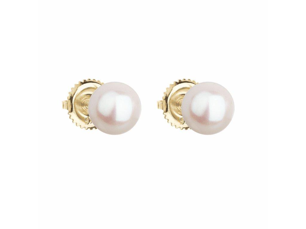 Zlaté 14 karátové náušnice pecky s bílou říční perlou 921004.1