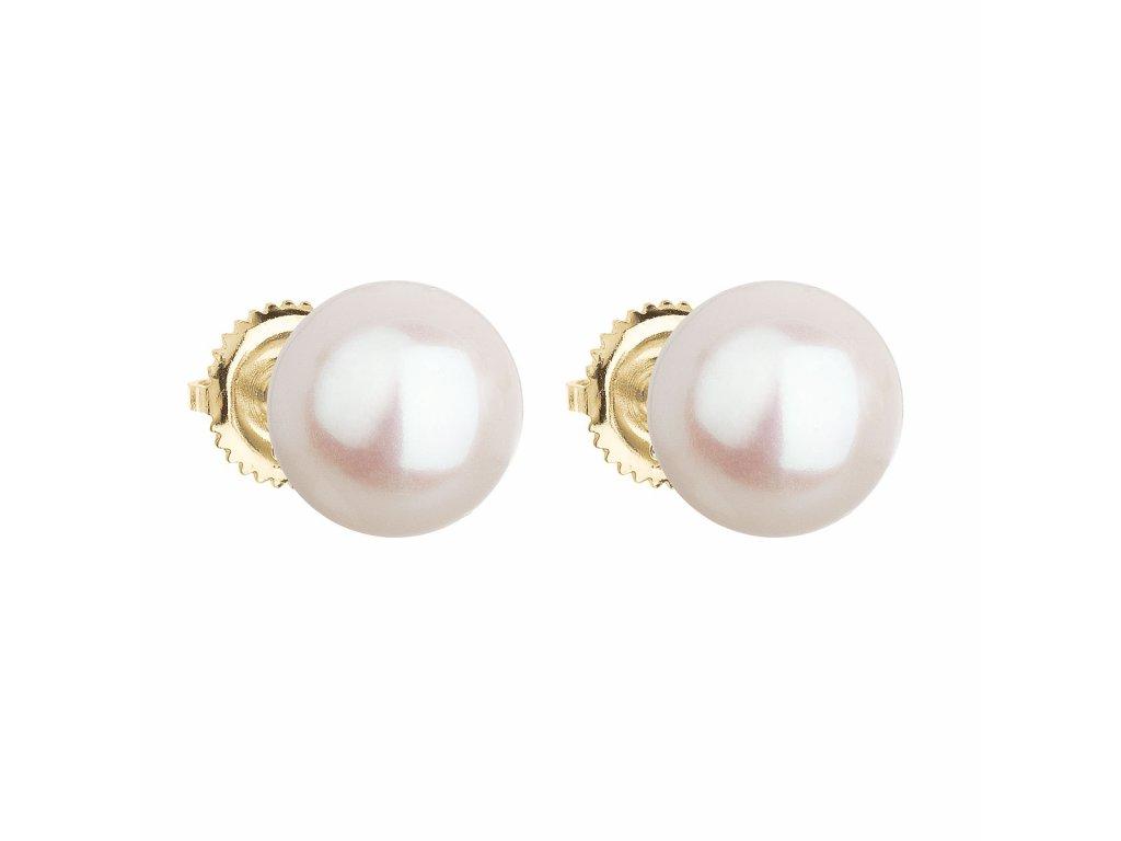 Zlaté 14 karátové náušnice pecky s bílou říční perlou 921005.1