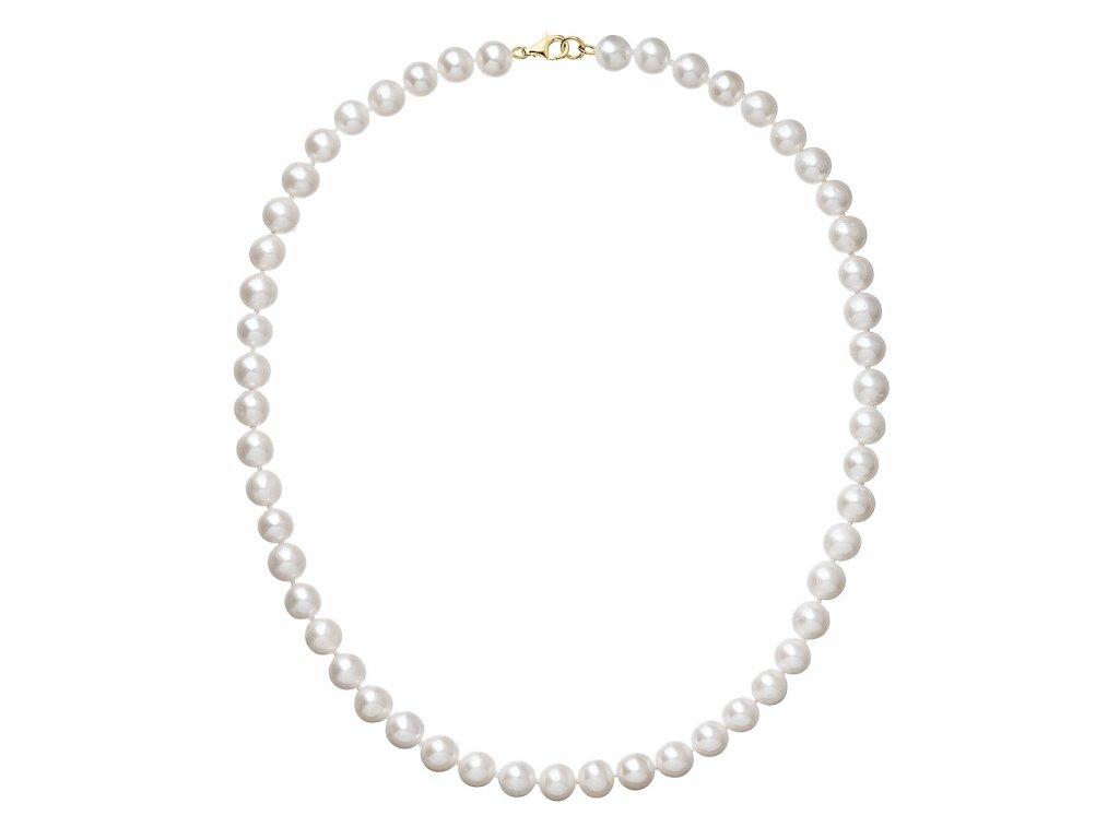 Perlový náhrdelník bílý z pravých říčních perel se zlatým 14 karátovým zapínáním 922003.1
