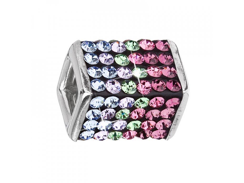Stříbrný přívěsek s krystaly fialová kostička 34134.3