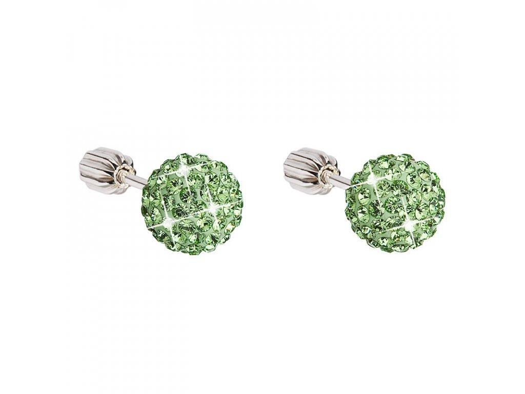 Stříbrné náušnice pecky s krystaly zelené kulaté 31111.3
