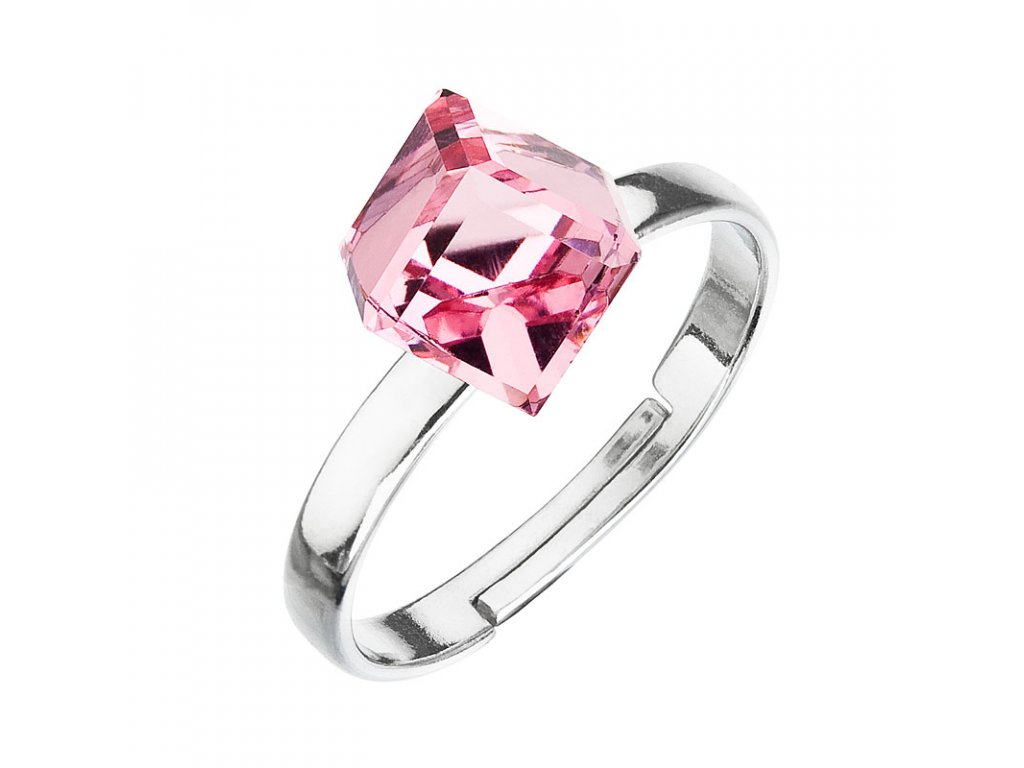 Stříbrný prsten s krystaly růžová kostička 35011.3