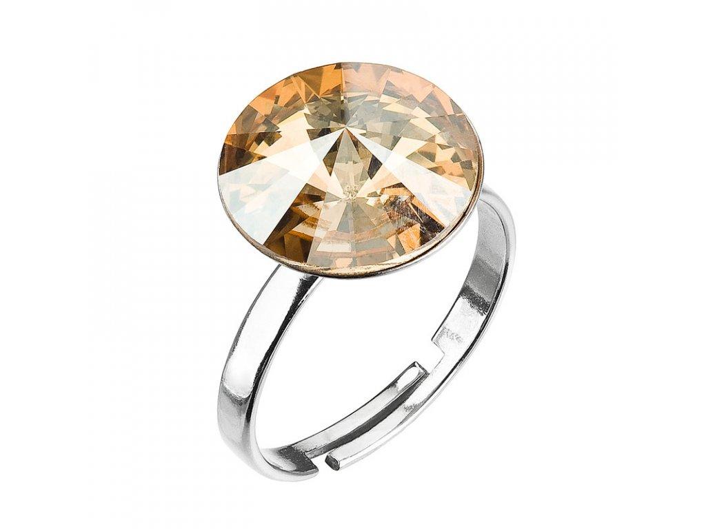 Stříbrný prsten s krystaly zlatý 35018.5 gold shadow